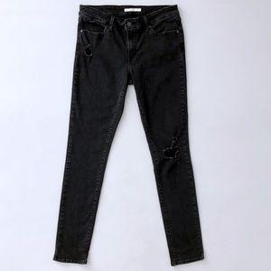 Levi's 711 Skinny Jeans Womens Black Distressed 31